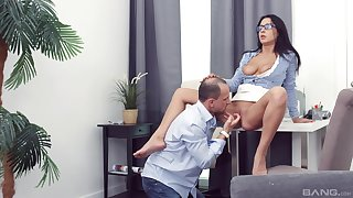Girl with glasses fucked in front office by her new boss