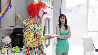 MILF gets busy with the clown from her son's fare well