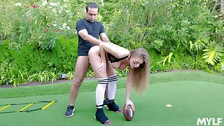 Football player Britney Amber gets fucked report register an open-air scrimmage