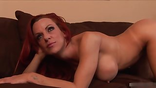 Lusty, red-hot haired ecumenical is getting fucked on every side the ass and eating some fresh cum