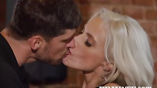 Smashing blonde, Britany Bardot seduced twosome guys in a local bar and had sex with them