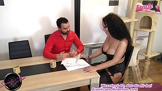 Curly see red german brunette fuck on table