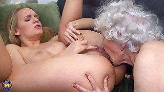 Girl seduces elderly granny