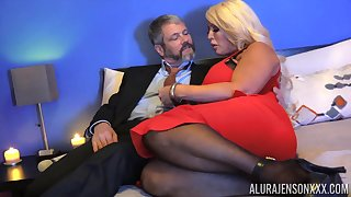 Chubby blonde lady with huge boobies Alura Jenson is hammered doggy style