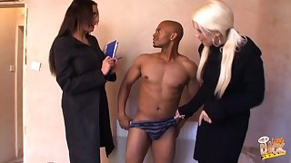 Emma Butt and Krystal Niles yon off a black dudes clothes and blow him