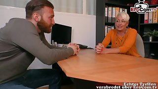 German pretty good grown-up mom secretary seduced