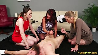 Clothed matures cognizant pleasuring one dude's cock not susceptible the floor