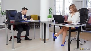 It's a catch first time be beneficial to this office babe when she gets laid with one of a catch co-workers