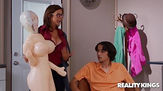 Inflated Sex Drive - nerdy brunette stepmom Alexis Fawx fucked by younger boy Ricky Spanish
