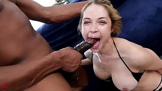 Sarah Vandella with Isiah Maxwell - interracial deepthroat and mouthful cumshot