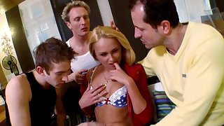 Trio penetration gangbang doubtful remainders anent cumshots for cute Ivana Sugar